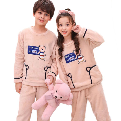 100-polyester-warm-winter-girls-boys-pajamas