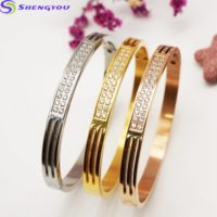 2 Row Iced Out Stainless Steel Silver Bangle Bracelet Women Jewelry-Buy Bangle, Bracelets at Best Price in Kenya