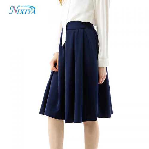 2018-Ladies-Fashion-Navy-Blue-Pleated-Skirt