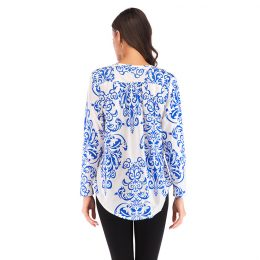 Women Hot Sale V-neck Long Sleeve Blouse Lady Floral Printing Tops Loose Design Thin Clothes-Best Womens Clothes Online in Kenya