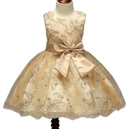 Designer One Piece Kids Clothes Online Golden Luxury Lace Embroidery Summer Frock Designs Girls Party Dresses L9027-Kids clothing in Mombasa,Nairobi Kenya