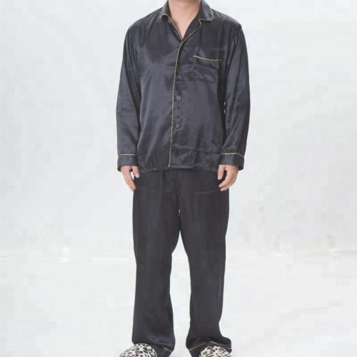 Men-s-black-satin-pajamas-summer-sleepwear