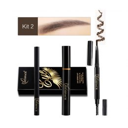 New Eyes Makeup Set 1pc Eyelashes Mascara + 1pc Waterproof Double Head Eyebrow Pencil + 1pc Black Liquid Eye Liner Cosmetics Kit-Makeup in Kenya