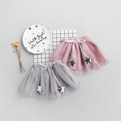 Pink-sliver-star-chiffon-fluffy-girls-skirt (1)