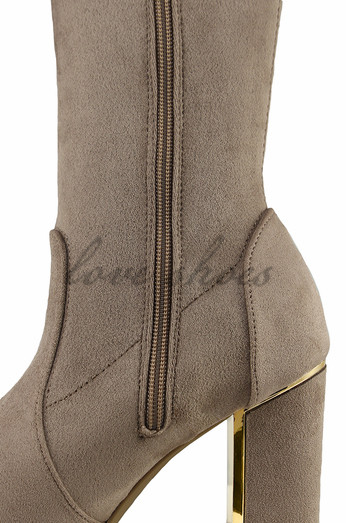 Woman-winter-high-heel-boots-Taupe-suede