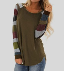 Women Casual Shirts Mutil Color Striped Long Sleeve Tops Blouses-Best Womens Clothes Online in Kenya