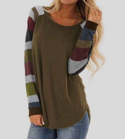 Women-Casual-Shirts-Mutil-Color-Striped-Long (2)