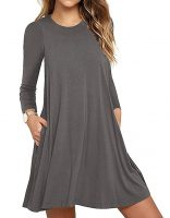 Women's Long Sleeve Casual Loose Swing T-Shirt Dress-Best Womens Clothes Online in Kenya