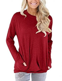 Women's Long Sleeve T Shirts With Pocket Round Neck Casual Loose Blouse Casual Tops Make Slim-Best Womens Clothes Online in Kenya