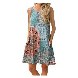 Women's Summer Casual Sleeveless Floral Printed Swing Dress Sundress with Pockets-Best Womens Clothes Online in Kenya