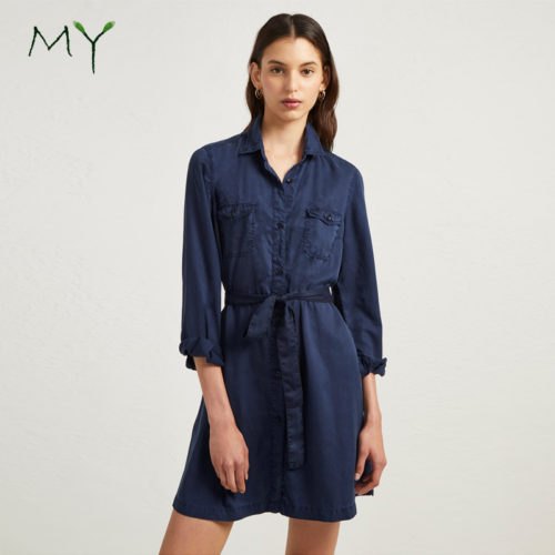 Button-up-long-sleeve-belted-short-navy
