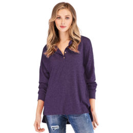 White Cheap Classical Dark Purple Long Sleeves Buttons Women Casual Blouse