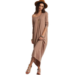2018 casual brown scoop neck long sleeve maxi dress for women