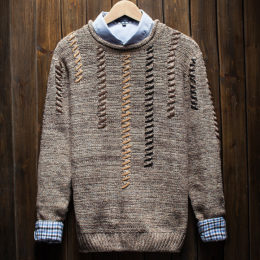 spring autumn latest o-neck teen's fashion knitted pullover sweater men jumper
