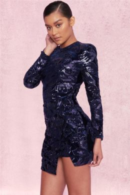 2019 New Arrival Navy Sequin Bodycon Party Dress for Women