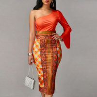 sexy bodycon African print casual dress for women