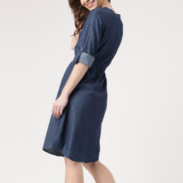 Clothing factory customized denim clothing midi casual dress for women