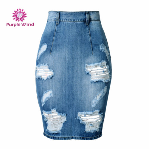 Factory-price-special-design-midi-denim-splitted