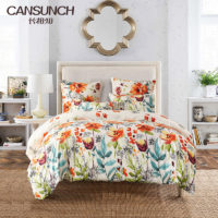 Home Bedding Floral Print Duvet Cover Set Queen Size