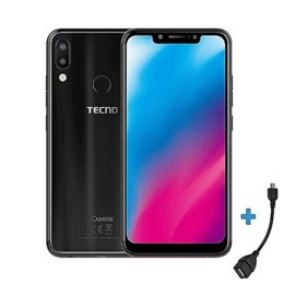 TECNO Camon 11 -[32GB+3GBRAM]- 4GLTE -6.2″ -16MP- Dual SIM- Black + Free OTG Cable.