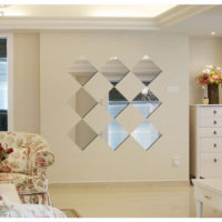 17pcs Square Preciser 3D Acrylic Home Decorative Art Mirror Wall Stickers