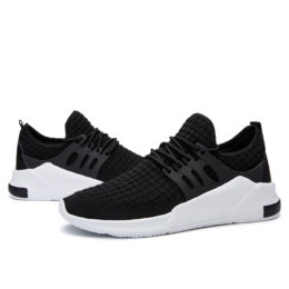 Comfortable fashion flymesh sport mens black casual shoes for sale