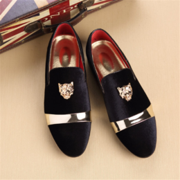 H10002D New arrival velvet European design men dress shoes fashion vintage loafer shoes for men