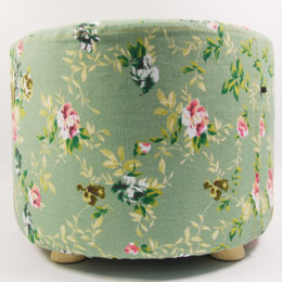 green color flower pattern wooden fabric foot stool for daily use wholesale