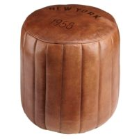 Original Goatskin Leather Round Stool / Ottoman / Footstool