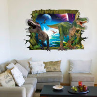 decorative removable pvc 3d dinosaur wall stickers