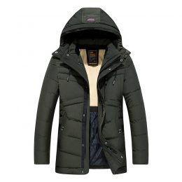 Fashionable hooded army green winter coat long puffer padded jacket for men