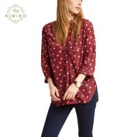 Chic Maroon Lady Top Polka Dot Front Pocket Red Tunic