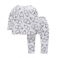 100% cotton pajama white color with milk bottom full prints longsleeve house wear cute style for toddles