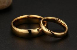 Latest Simple Couple Ring Set Gold Ring Designs for Boys Girl Engagement Tungsten Wedding Ring-Gold rings for Kenya