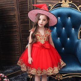 New Sequin embroidery 1-11 Years Baby Girl Dress Wedding Girls Kids Party Dress Bow tutu Princess Elegant Dress