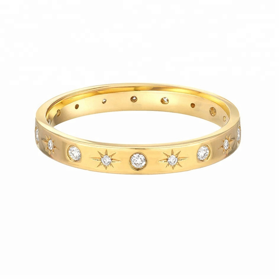 Starburst Jewelry Sterling Silver Ring, Gold Eternity