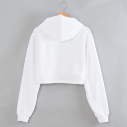 Female White Cropped Hoodies Women Cotton Crop Top Hoodie
