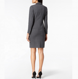 single button closure gray color formal office skirt ladies business suit