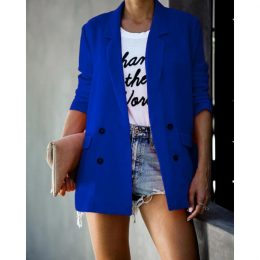 Minimalist Pure Color Long Sleeve Pockets Women Ladies Blazer Femme in Kenya