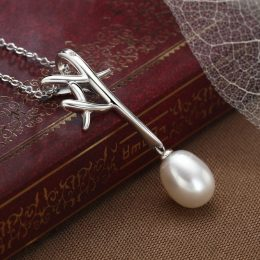 925 Sterling Silver Bifurcated Antlers Pearl Pendant Necklace for Women Jewelry