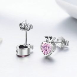 Authentic 925 Sterling Silver Pink Heart of Crown Stud Earrings for Women Luxury Silver Jewelry Gift