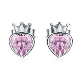 Genuine 925 Sterling Silver Double Heart to Heart Pink CZ Stud Earrings for Women Luxury Jewelry