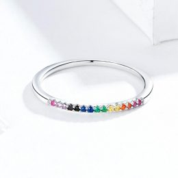 New Arrival Rainbow Color CZ Finger Rings
