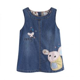Little girls spring denim blue cartoon mouses sleeveless dress in Kenya