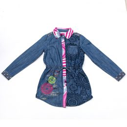 Long sleeve kids jean denim skirt kids girl denim dress in Kenya